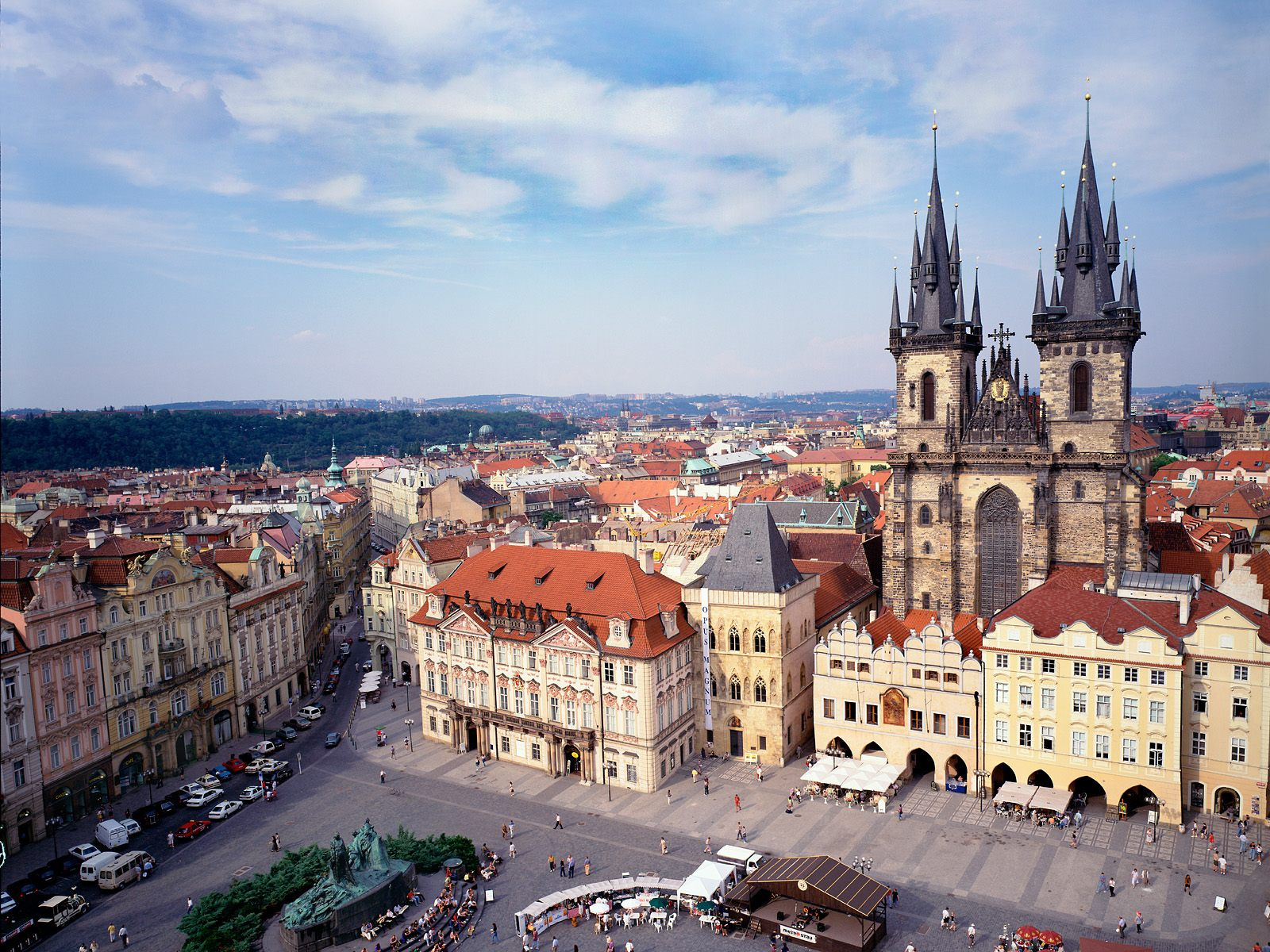 Old town square and tyn church prague czech republic for Prague square