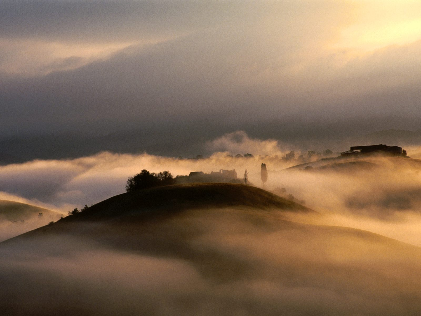 Morning Mist Over Hills Near Siena Tuscany Italy