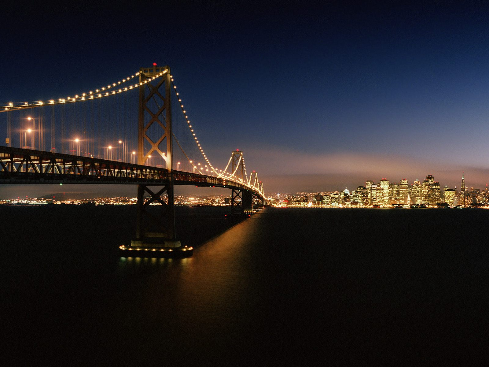 Evening Crossing Bay Bridge San Francisco California