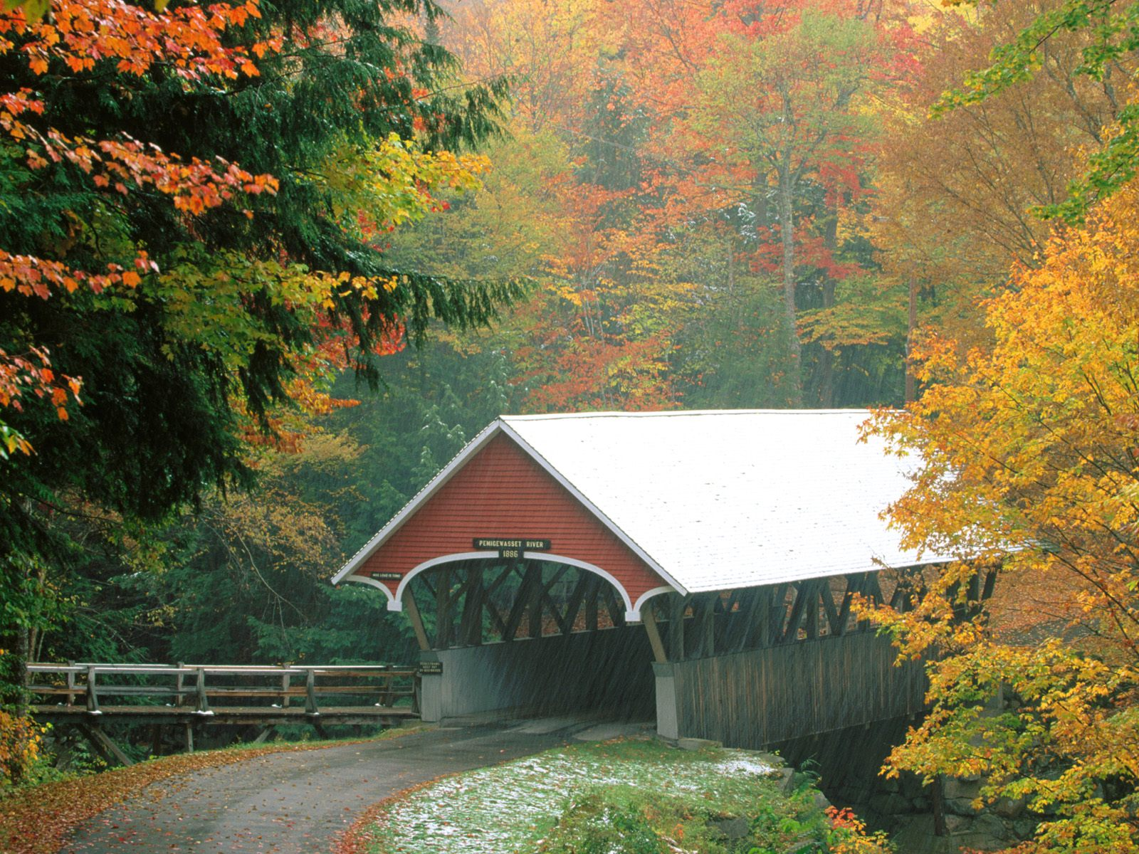 Flume covered bridge in autumn franconia notch state park new