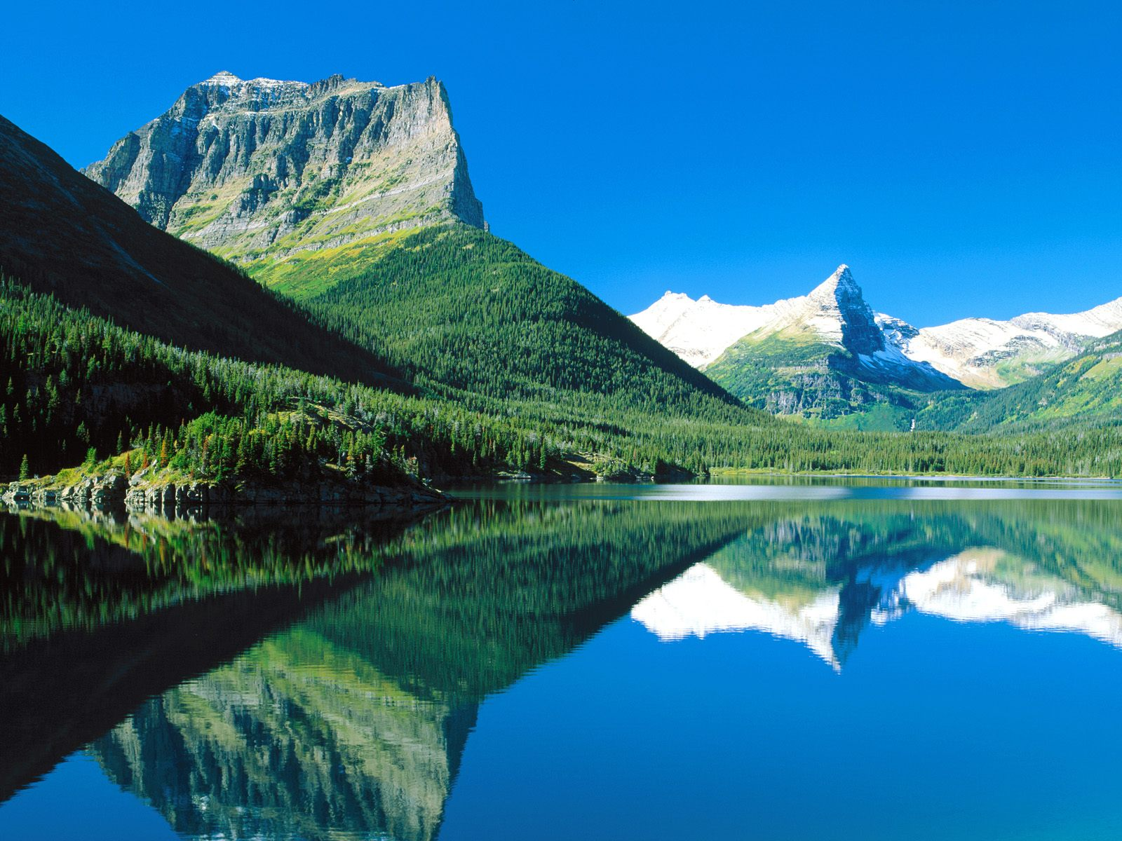 Mountains Mirrored St. Mary Lake Glacier National Park Montana