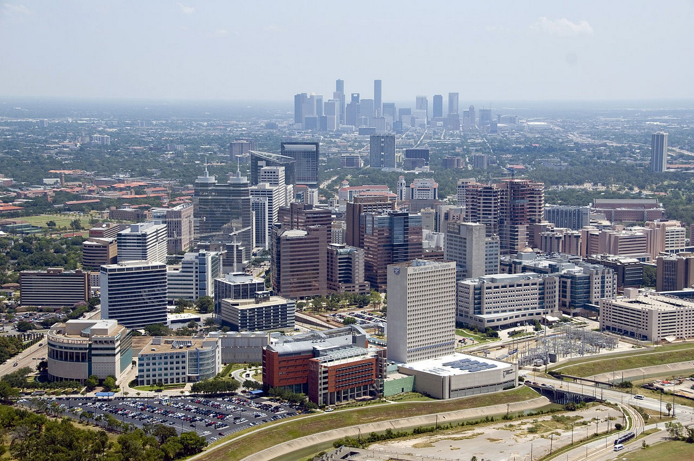 Aerial of Texas Medical Center with Downtown Houston