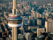 Aerial View of the CN Tower Toronto Canada