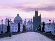Charles Bridge at dusk Prague Czech Republic