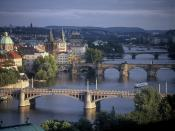 Prague Bridges Spanning the River Vltava Czech Republic
