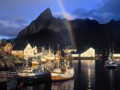Hamnoy Rainbow Sakrisoy Island Lofoten Islands Norway