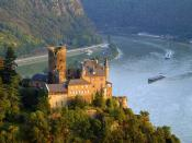 Burg Katz Above St. Goarshausen and the Rhine River Germany