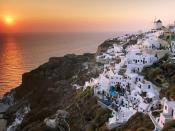Sunset on the Island of Santorini Greece