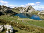 Lake Enol Covadonga Picos de Europa National Park Asturias Spain