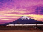 Shinkansen Bullet Train and Mount Fuji Japan