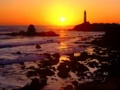 Golden Sunset over Pigeon Point San Mateo County California