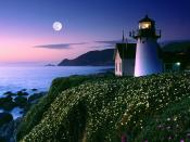 Moon Rise Over Point Montara Lighthouse California