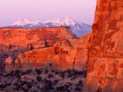 Sunset Over Schafer Canyon Canyonlands National Park Utah