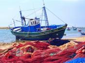 Fishing boat with the nets outside Portugal
