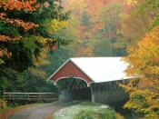 Flume Covered Bridge in Autumn Franconia Notch State Park New Hampshire